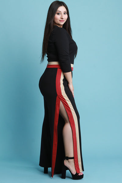 High Waisted Colorblock Side Slit Flared Pants