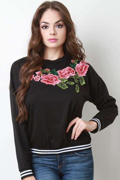 Floral Applique Striped Ribbed Knit Trim Sweater Top