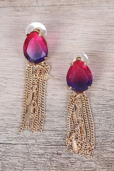 Teardrop Gem Tassel Drop Earrings