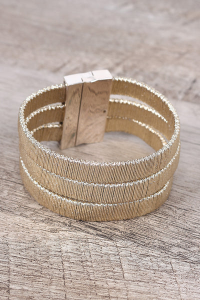 Three Banded Metallic Wire Wrapped Bracelet