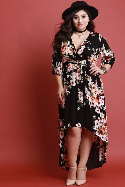 Floral High Low Surplice Maxi Dress