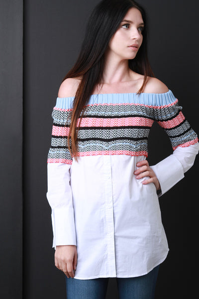 Chevron Knit Crop and Button Up Twofer Top