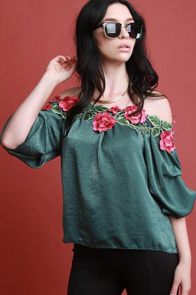 Floral Applique Satin Statement Sleeve Top