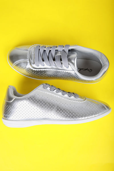 Qupid Perforated Metallic Lace-Up Sneaker
