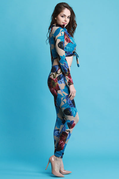 Floral Self-Tie Crop Top with High Waist Pants Set