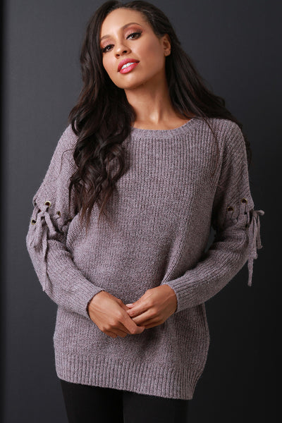 Thick Knit Eyelet Lace Up Sleeve Sweater Top