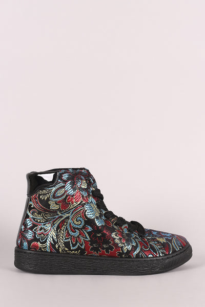 Bamboo Floral Brocade Lace-Up High Top Sneaker