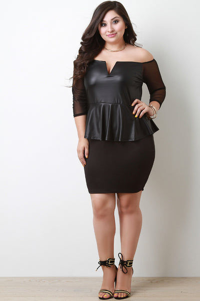 Twofer Vegan Leather Peplum Bodycon Dress