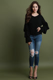 Tiered Ruffle Sleeves Sweater Knit Top