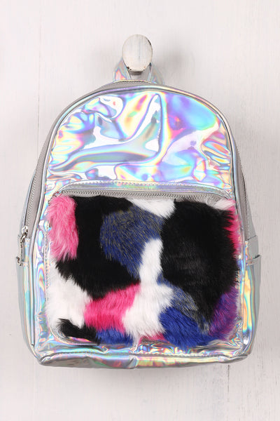 Fluffy Faux Fur Patch Holographic Mini Backpack