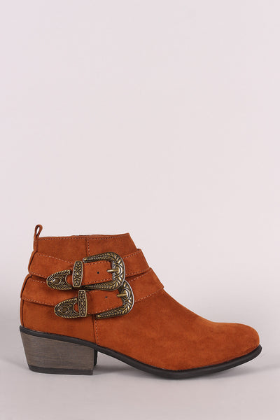 Bamboo Suede Almond Toe Etched Buckled Ankle Booties