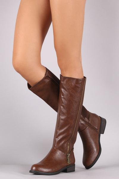 Bamboo Back Elastic Gore Zipper Trim Riding Boots