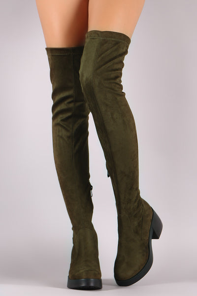 d0ba9107482 Stretch Suede Almond Toe Thigh High Boots