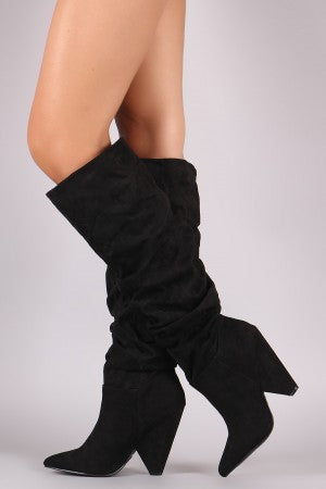 Slouchy Suede Cone Heel Knee High Boots