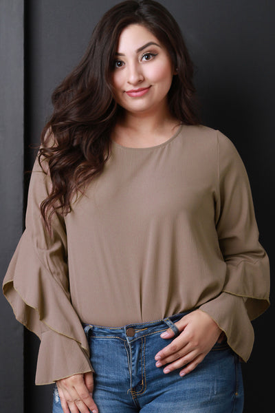 Round Neck Long Ruffled Sleeves Top