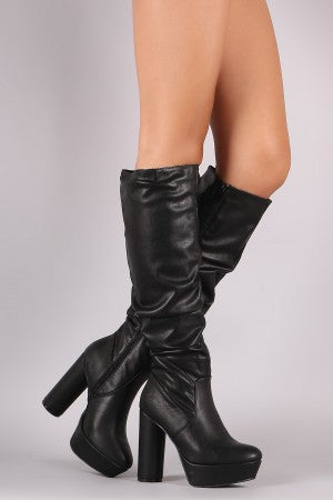 Bamboo Slouchy Platform Cylindrical Heeled Boots