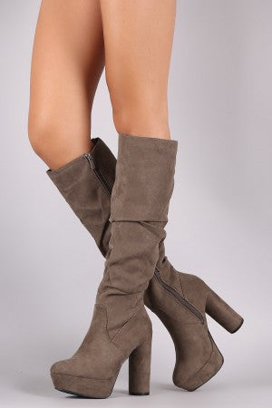 Bamboo Suede Slouchy Platform Cylindrical Heeled Boots