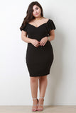 Sweetheart Bardot Flutter Sleeves Bodycon Midi Dress
