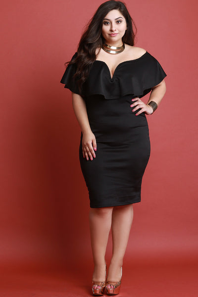 Sweetheart Flutter Bardot Midi Dress