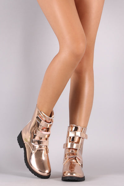 Mirrored Metallic Round Toe Triple Band Moto Boots