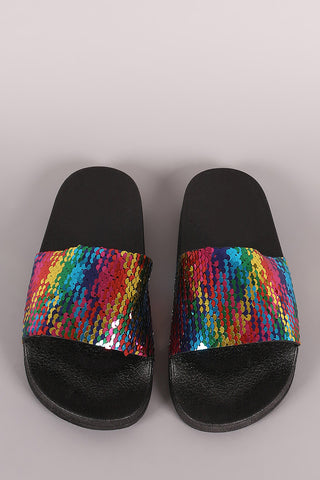 Bamboo Colorful Sequins Open Toe Slide Sandal
