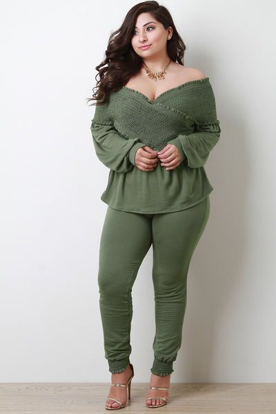 Smocked Off The Shoulder Top With Jogger Pants Set