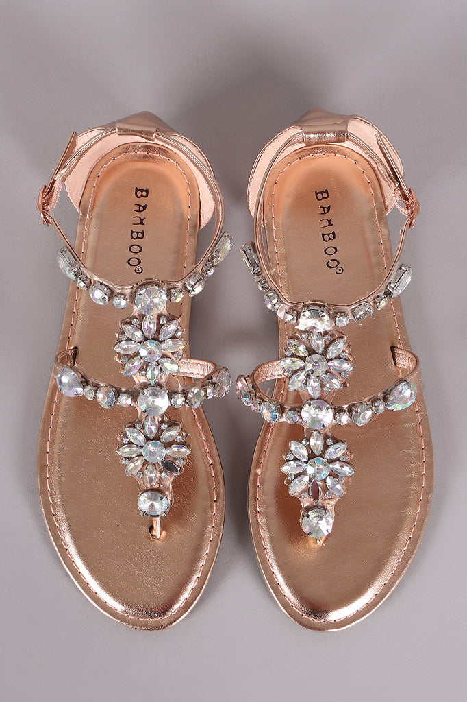 3645a4d207a367 Bamboo Rhinestone Embellished Thong Flat Sandal – Purposed By Design ...