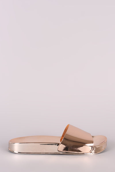 Liliana Metallic Jelly Open Toe Slide Sandal