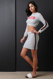 Super Stripe Trim Crop Top With Mini Skirt Set