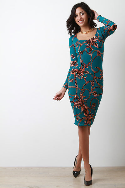 Chain Print Scoop Neck Long Sleeve Bodycon Dress
