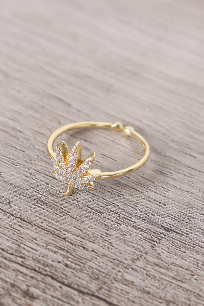 Rhinestone Encrusted Leaf Charm Ring
