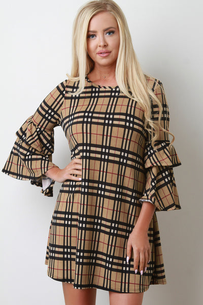 Plaid Pattern Tiered Sleeve Shift Dress