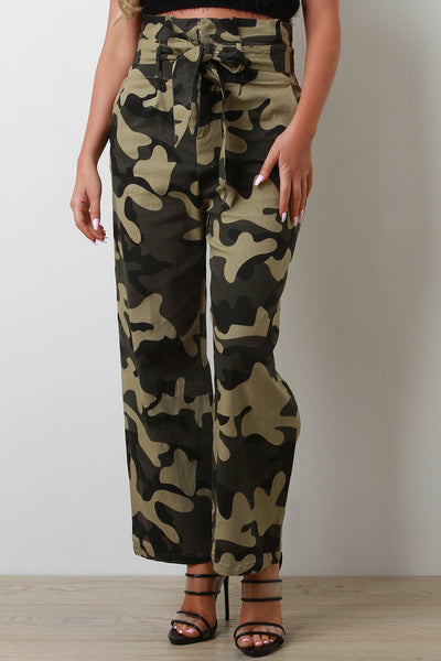 Camouflage Pattern Self Tie Paper Bag Pants