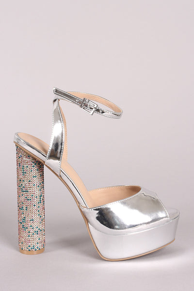 Wild Diva Lounge Ankle Strap Patent Rhinestone Cylindrical-Heel