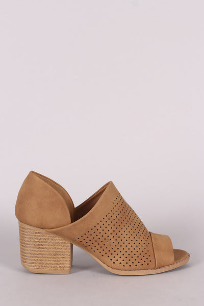 Qupid Perforated Nubuck Peep Toe Block Heeled Booties