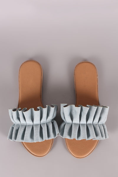 Qupid Pleated Ruffle Denim Slide Sandal