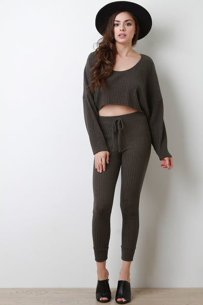 Ribbed Knit Dolman Crop Sweater with Leggings