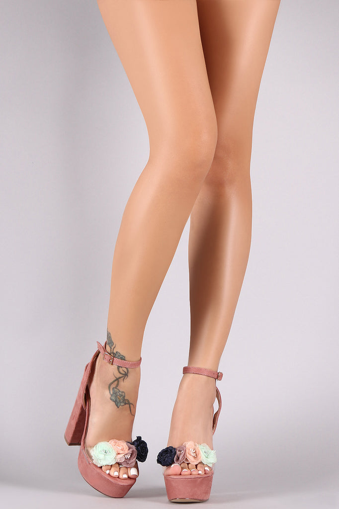 a599dee7afc Floral Accent Clear Open Toe Ankle Strap Chunky Platform Heel – Purposed By  Design (Honey Skies)