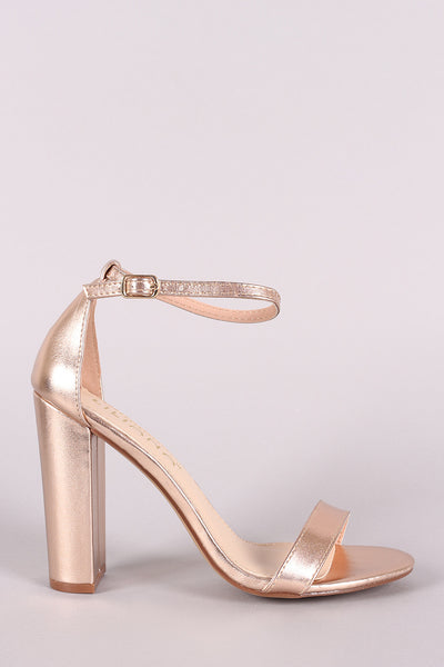 Liliana Metallic Leather Open Toe Ankle Strap Chunky Heel
