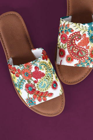 Bamboo Embroidered Floral Slide Flat Sandals