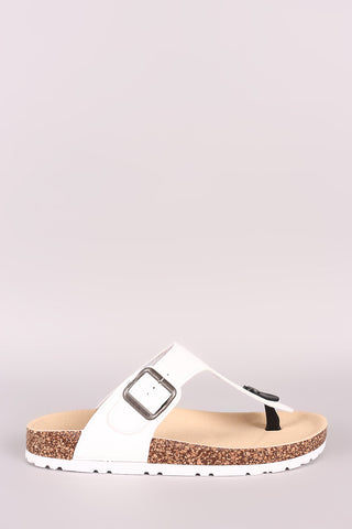 Bamboo Buckled T-Strap Footbed Thong Slide Sandal