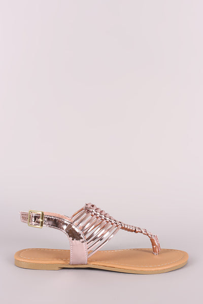 b5835c4a182 Qupid Metallic Woven Gladiator Thong Flat Sandal – Purposed By Design  (Honey Skies)