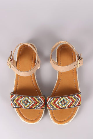 Bamboo Beaded Ankle Strap Espadrille Flat Sandal