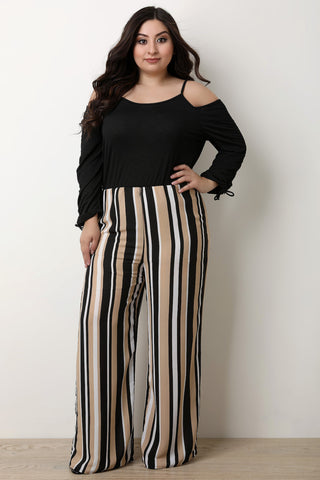 Striped High Rise Palazzo Pants