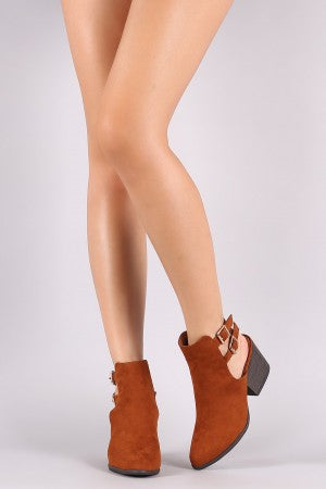 Bamboo Suede Almond Toe Double Buckled Ankle Boots