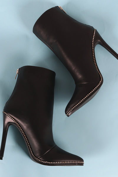 4ad1ea2ce079 Liliana Beads Trim Pointy Toe Stiletto Booties – Purposed By Design (Honey  Skies)