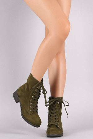 Bamboo Round Toe Lace-Up Combat Booties