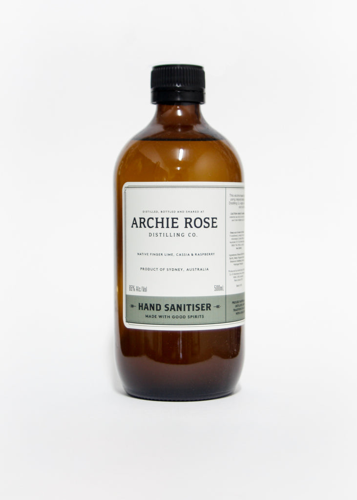 Archie Rose Distilling Hand Sanitiser. White back ground. Perth Fremantle Flower delivery, eco locally grown Australian native flowers in concrete pot. Handmade. Hand delivered perth. Perth gift Delivery. Mothers Day