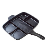 5-SECTION NON-STICK CAST ALUMINUM GRILL & GRIDDLE SKILLET, 15""