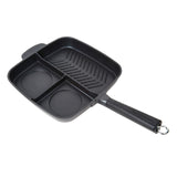 3-SECTION NON-STICK CAST ALUMINUM GRILL & GRIDDLE SKILLET WITH BAKELITE HANDLE, 11""